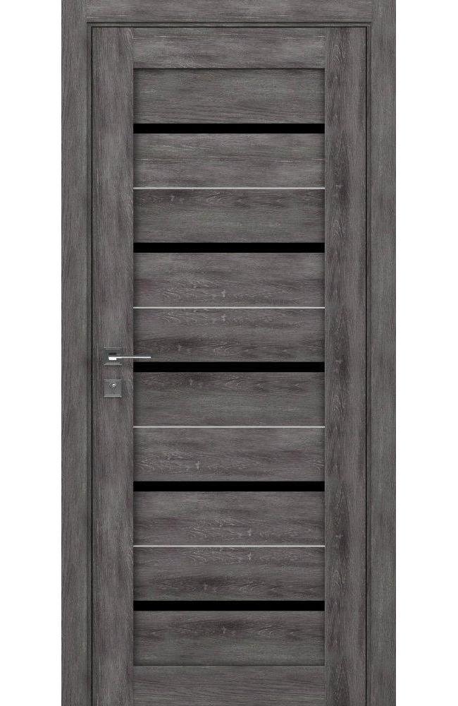 Двери Modern Lazio Родос дуб шале графит полустекло черное - Межкомнатные двери — фото №1