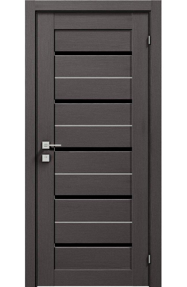 Двери Modern Lazio Black Родос графит полустекло черное