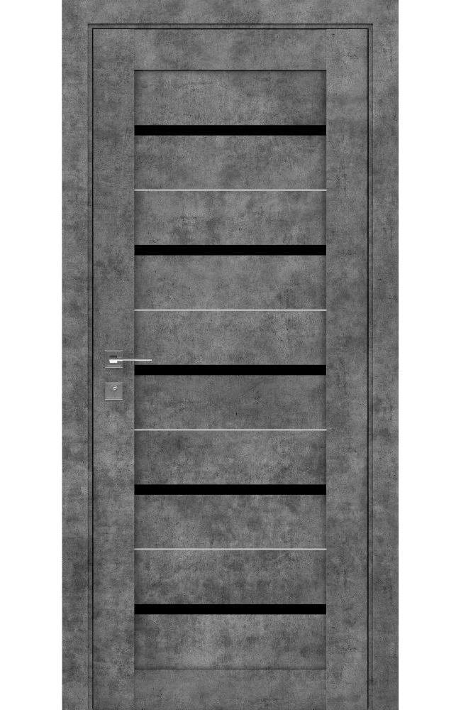 Двері Modern Lazio Родос сірий мармур напівскло чорне - Межкомнатные двери — фото №1