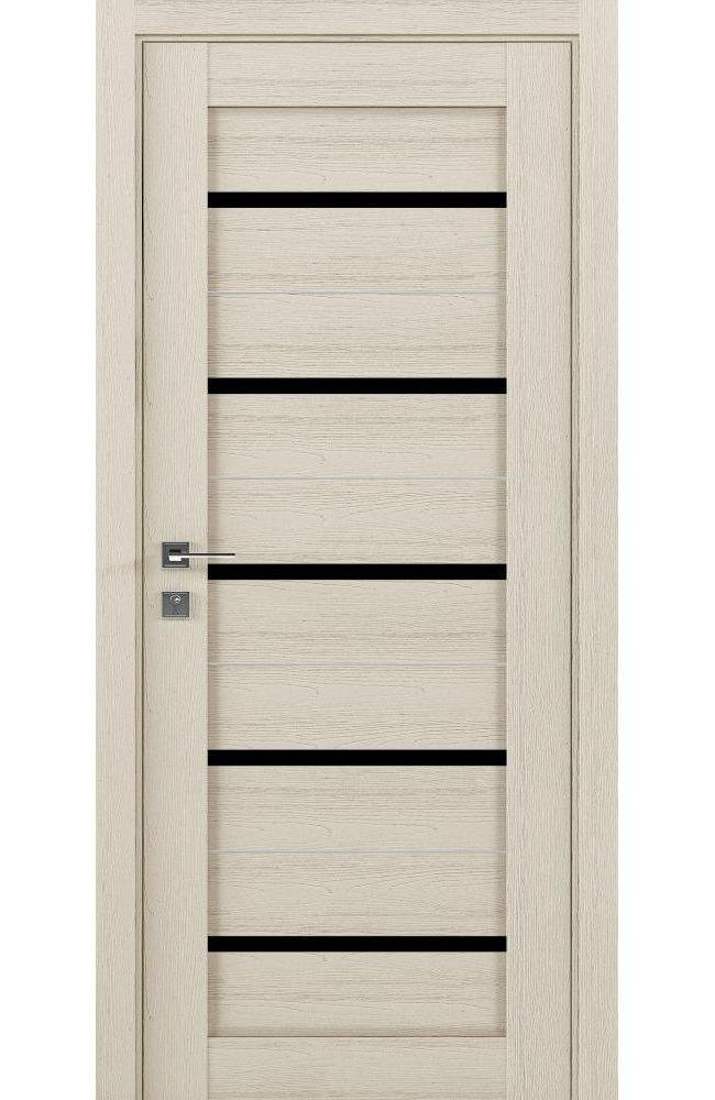 Двери Modern Lazio Родос каштан беж полустекло черное - Межкомнатные двери — фото №1