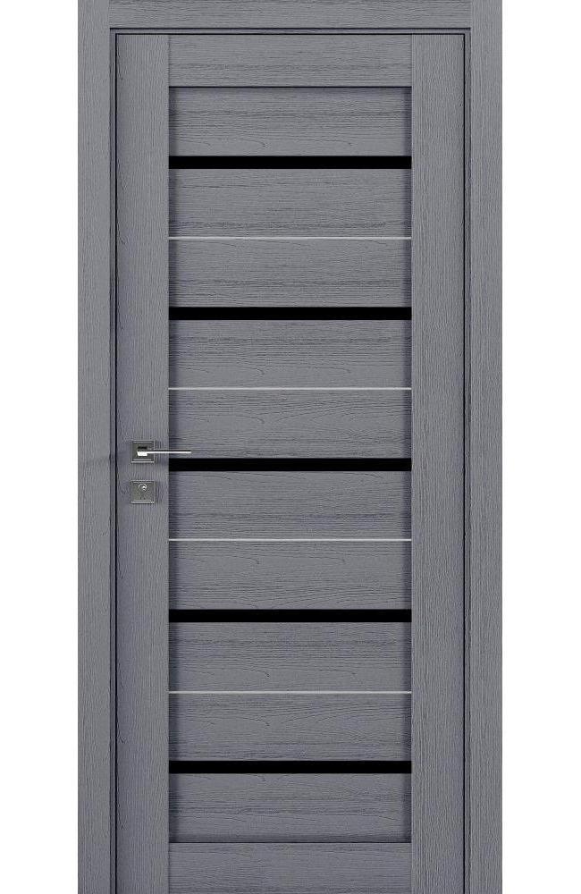 Двери Modern Lazio Родос каштан серый полустекло черное - Межкомнатные двери — фото №1
