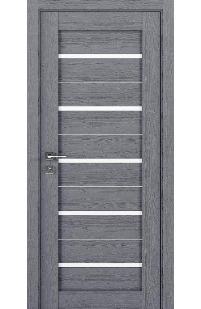 Двери Modern Lazio Родос каштан серый полустекло - Межкомнатные двери — фото №1