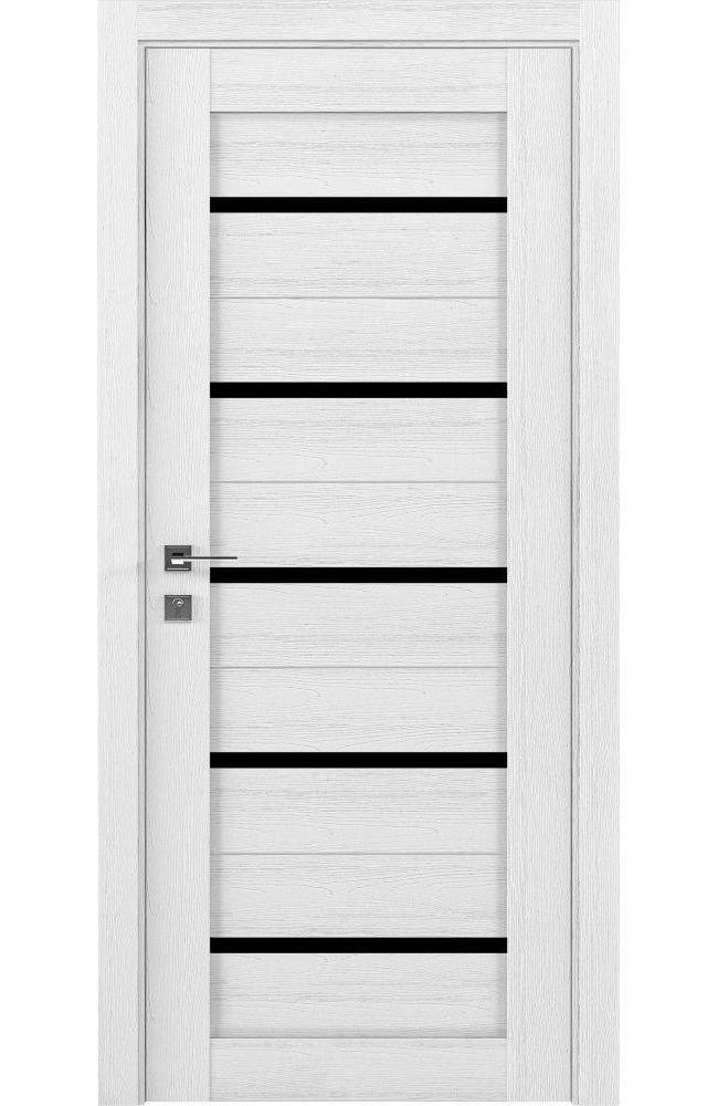 Двери Modern Lazio Родос каштан белый полустекло черное - Межкомнатные двери — фото №1