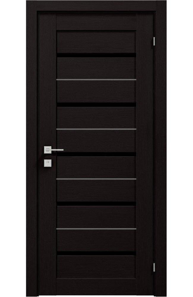 Двери Modern Lazio Black Родос венге шоколадный полустекло черное