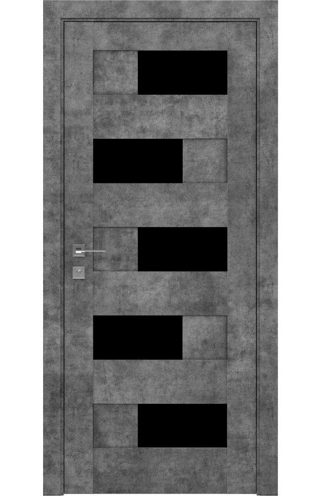 Двери Modern Verona Родос серый мрамор полустекло черное