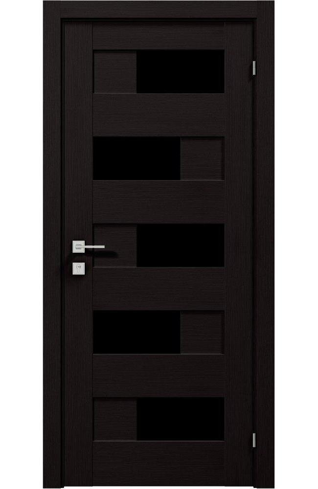 Двери Modern Verona Black Родос венге шоколадный полустекло черное