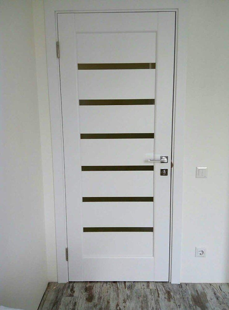 Двери Линнея Новый Стиль белый мат премиум стекло Сатин - Межкомнатные двери — фото №11