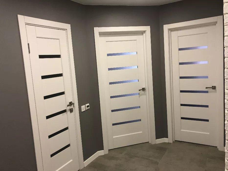 Двери Линнея Новый Стиль белый мат премиум стекло Сатин - Межкомнатные двери — фото №12