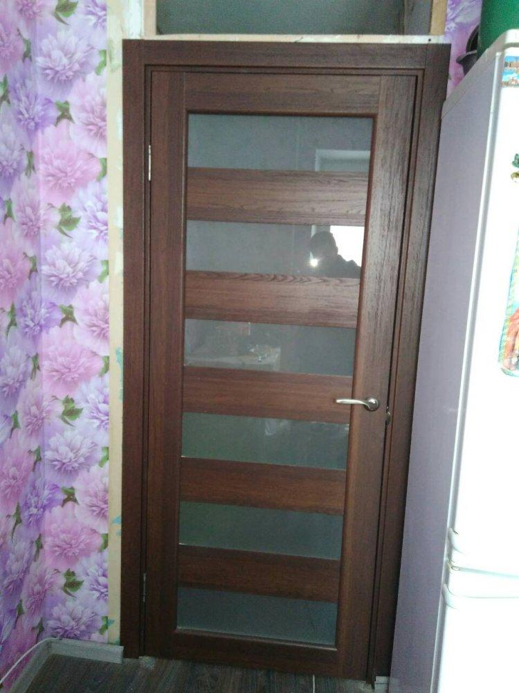 Двери Porto PR-04 Корфад орех стекло Сатин - Межкомнатные двери — фото №1