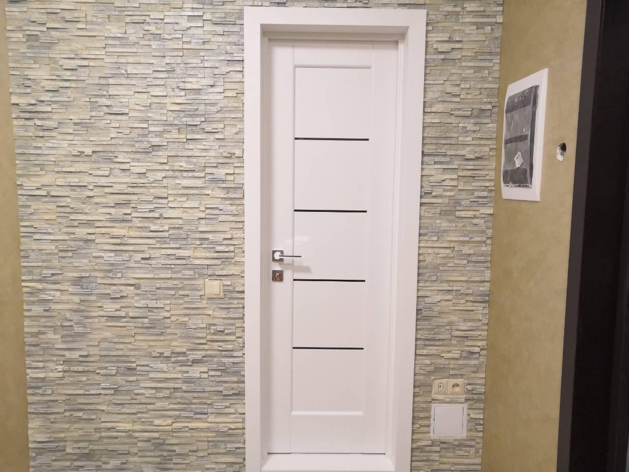 Двери Мира Новый Стиль белый мат премиум стекло черное - Межкомнатные двери — фото №1