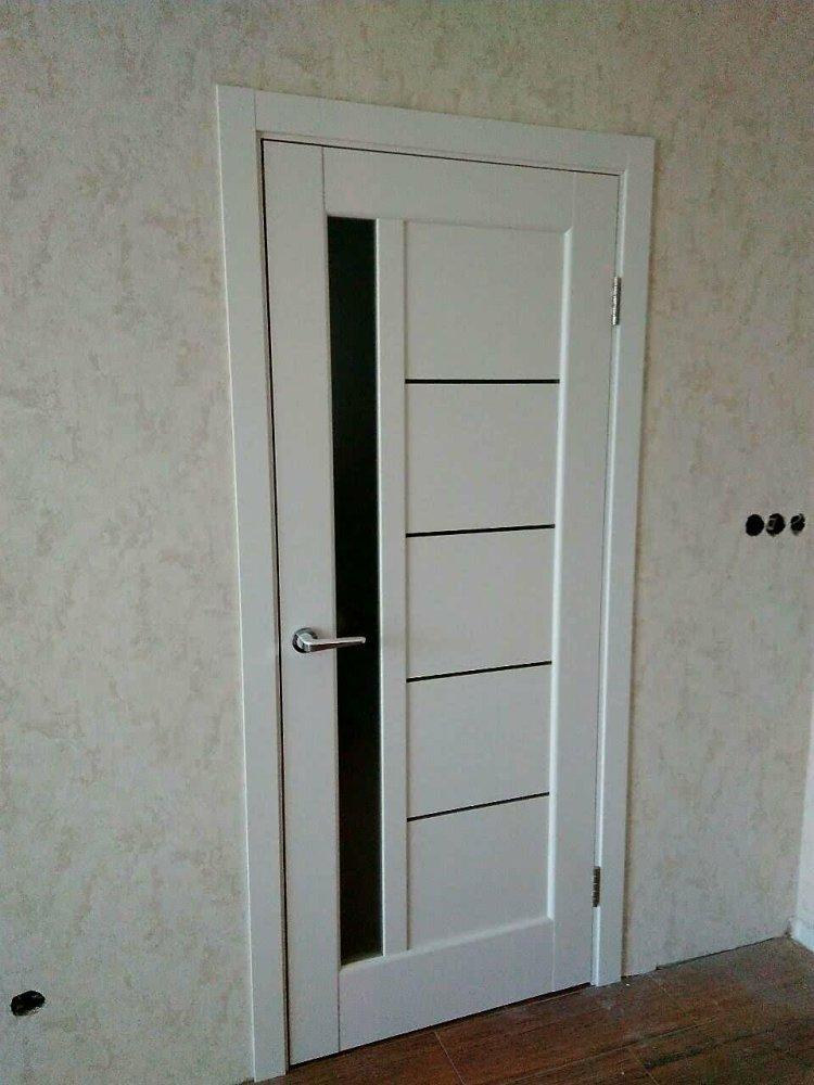 Двери Грета Новый Стиль белый мат премиум стекло черное - Межкомнатные двери — фото №2