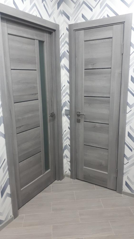 Двери Грета Новый Стиль бук пепельный делюкс стекло Сатин - Межкомнатные двери — фото №2