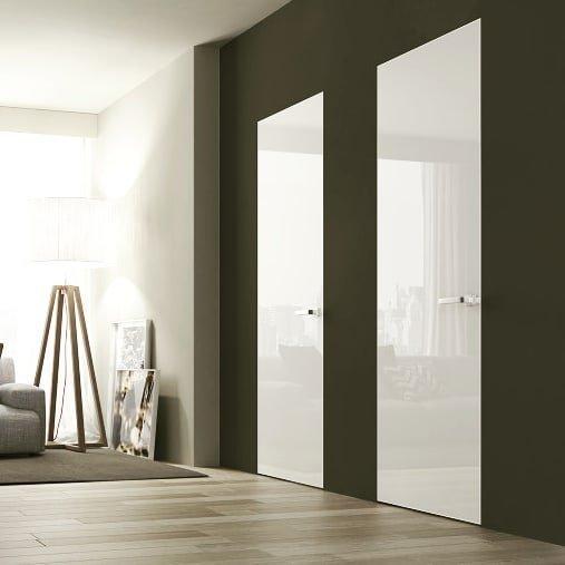 Двери скрытого монтажа со стеклом лакобель белое Invisible - Межкомнатные двери — фото №2