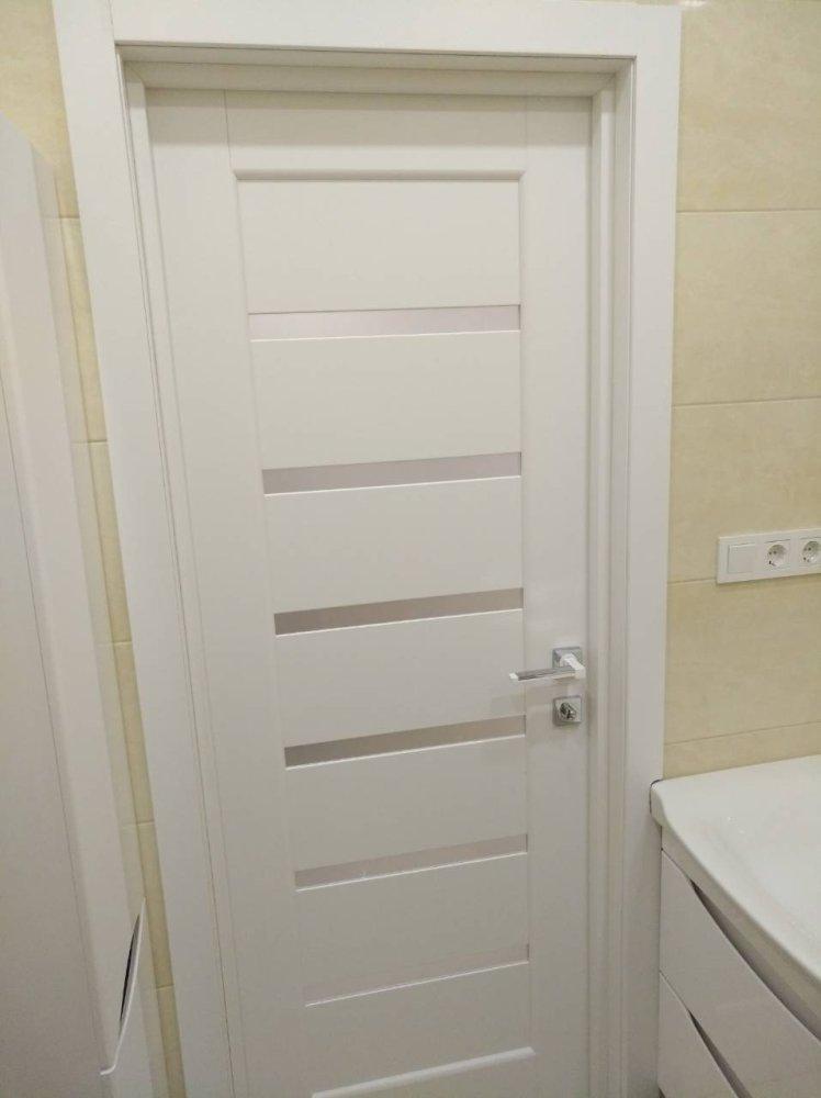 Двери Линнея Новый Стиль белый мат премиум стекло Сатин - Межкомнатные двери — фото №2