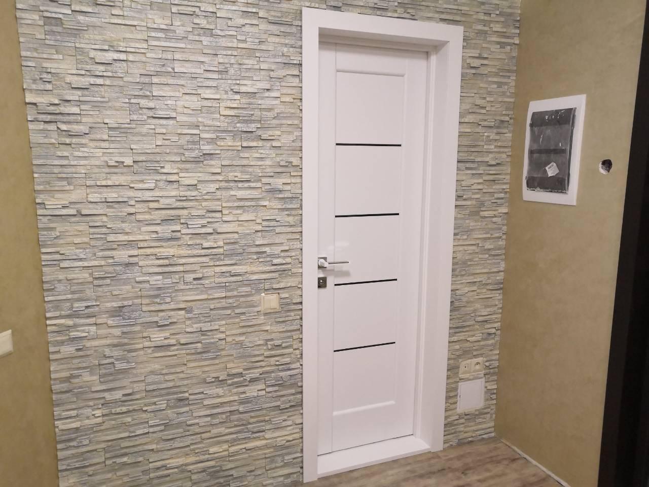 Двери Мира Новый Стиль белый мат премиум стекло черное - Межкомнатные двери — фото №2