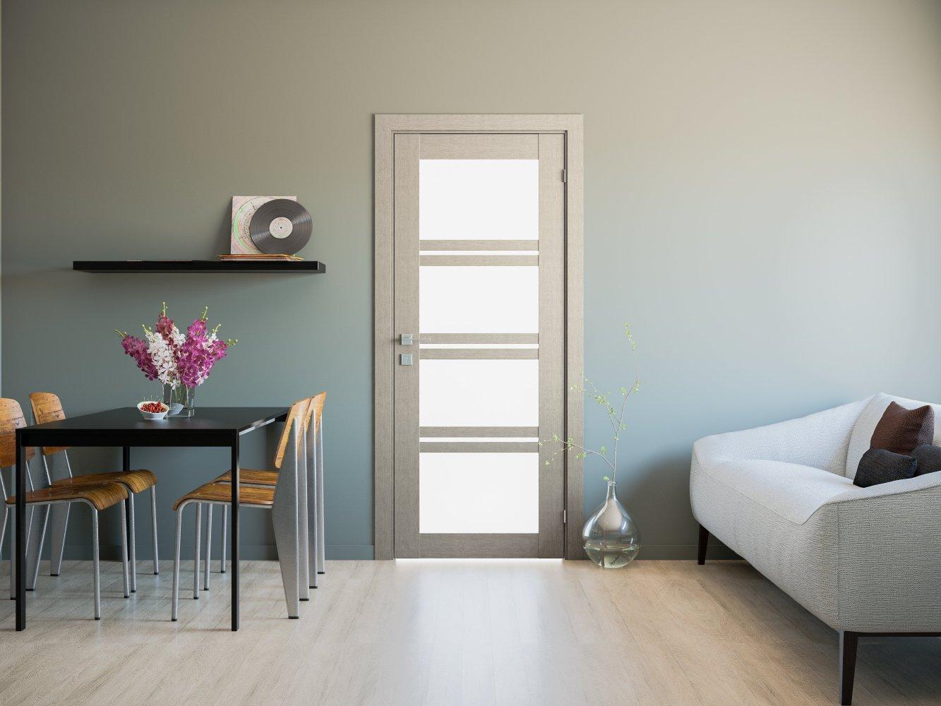 Двери Modern Quadro Родос крем со стеклом - Межкомнатные двери — фото №2