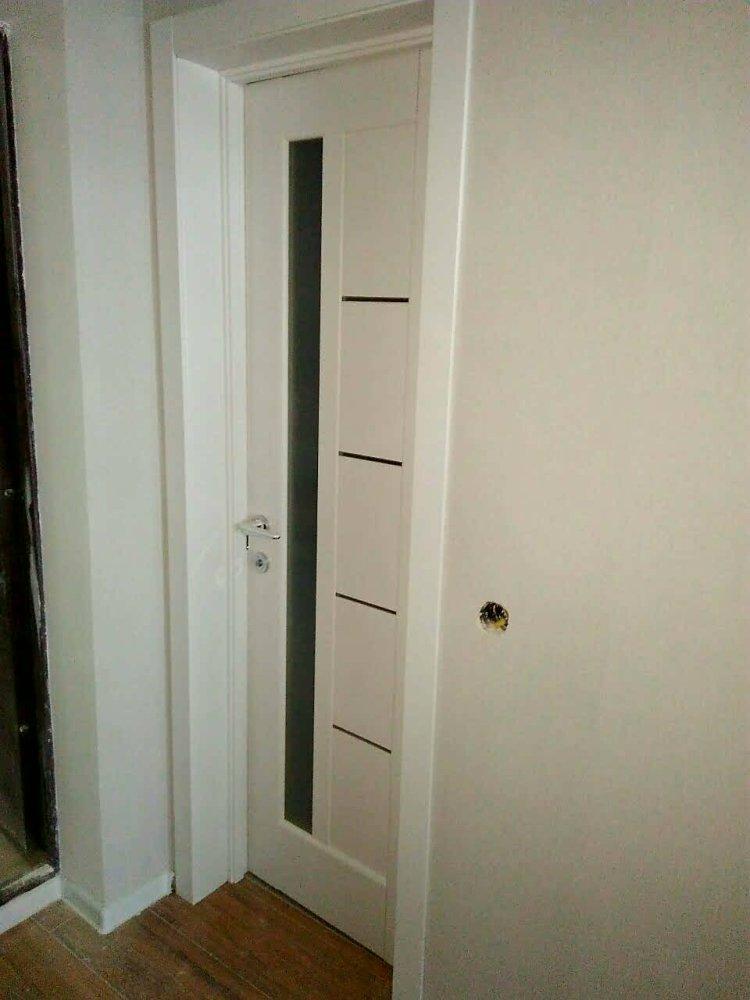 Двери Грета Новый Стиль белый мат премиум стекло черное - Межкомнатные двери — фото №3