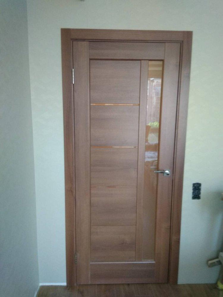 Двери Грета Новый Стиль золотая ольха делюкс стекло Сатин - Межкомнатные двери — фото №3