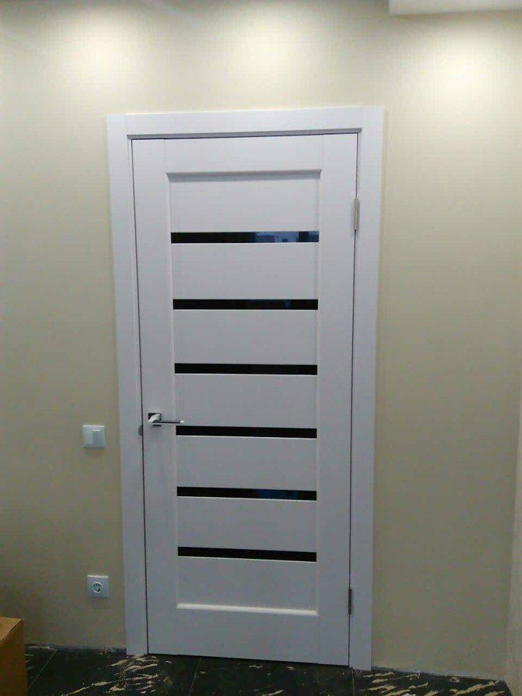 Двери Линнея Новый Стиль белый мат премиум стекло черное - Межкомнатные двери — фото №4
