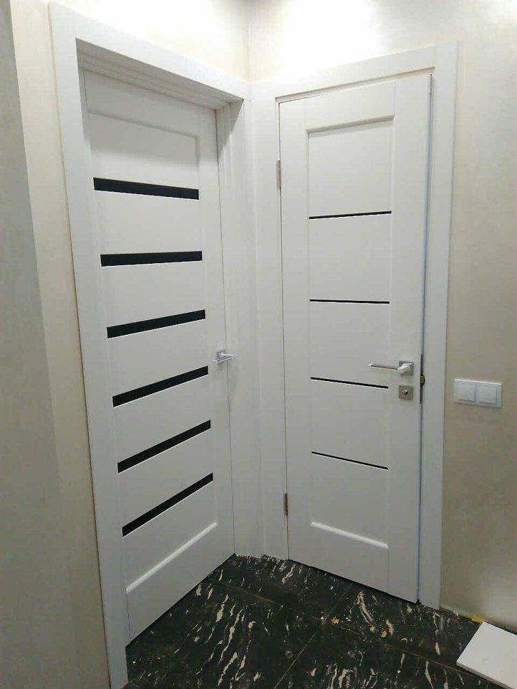 Двери Линнея Новый Стиль белый мат премиум стекло черное - Межкомнатные двери — фото №5