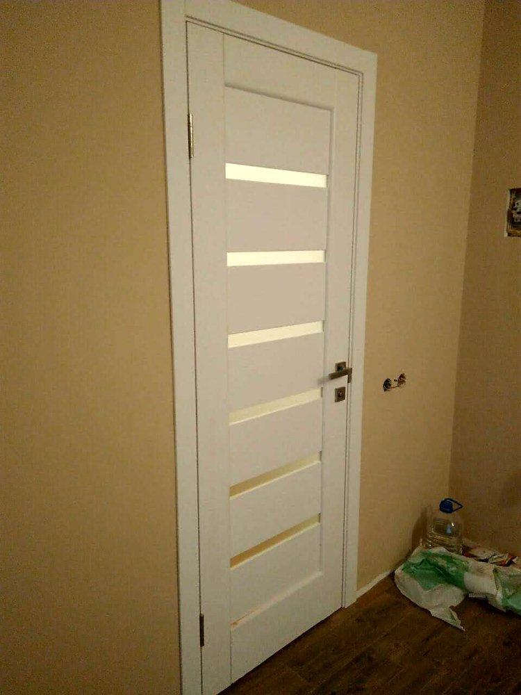 Двери Линнея Новый Стиль белый мат премиум стекло Сатин - Межкомнатные двери — фото №5