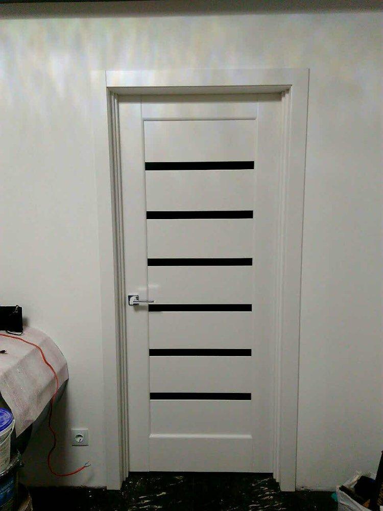 Двери Линнея Новый Стиль белый мат премиум стекло черное - Межкомнатные двери — фото №6