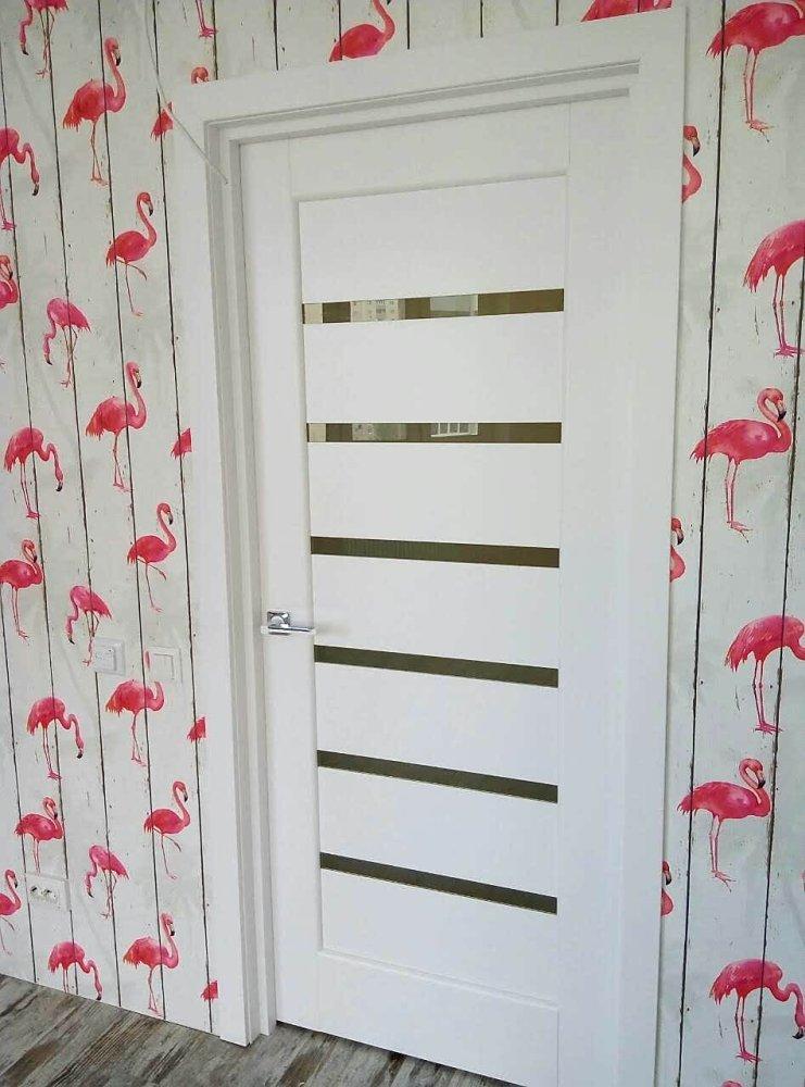 Двери Линнея Новый Стиль белый мат премиум стекло Сатин - Межкомнатные двери — фото №7
