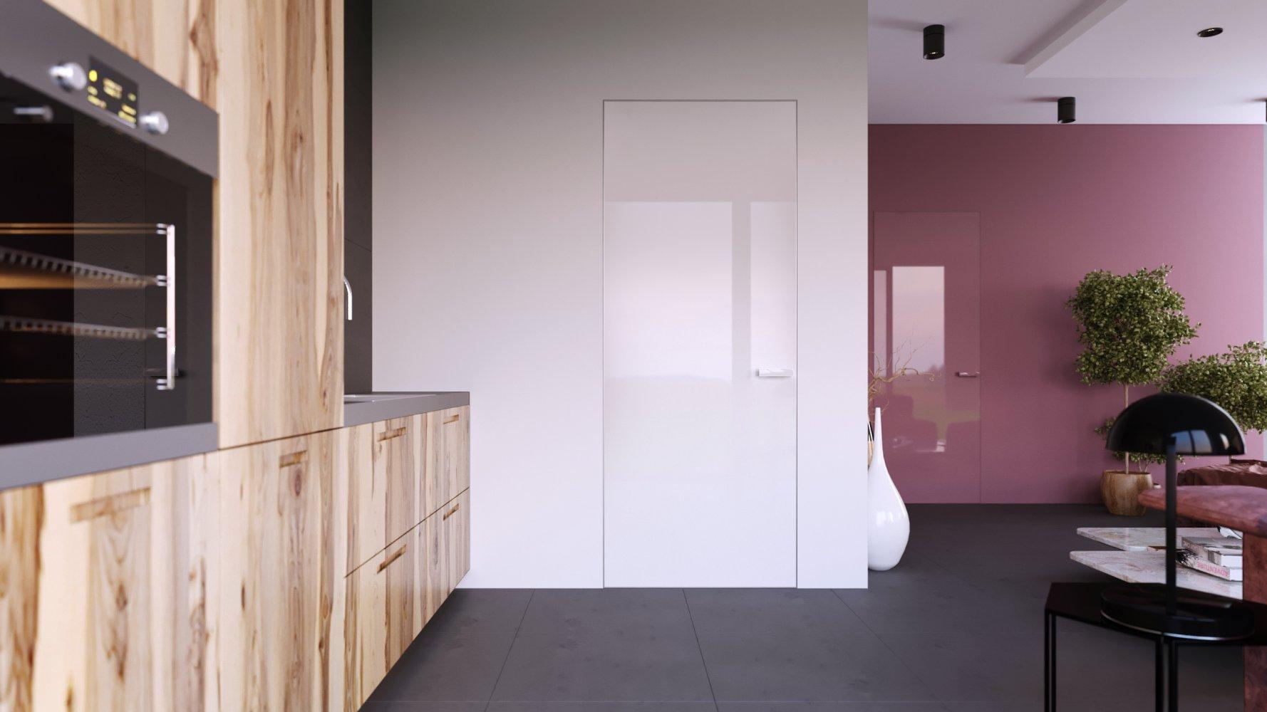 Двери скрытого монтажа со стеклом лакобель белое Invisible - Межкомнатные двери — фото №8
