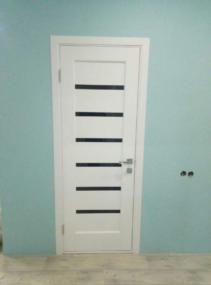Двери Линнея Новый Стиль белый мат премиум стекло черное - Межкомнатные двери — фото №8