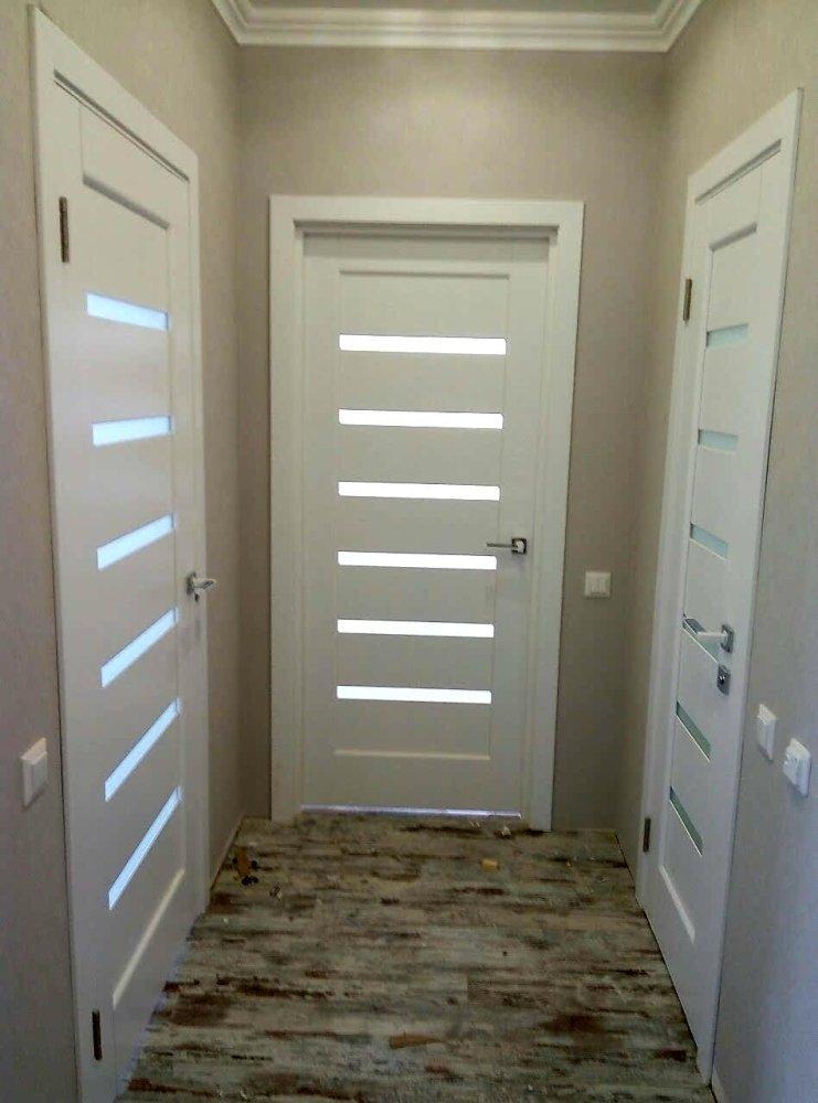 Двери Линнея Новый Стиль белый мат премиум стекло Сатин - Межкомнатные двери — фото №8