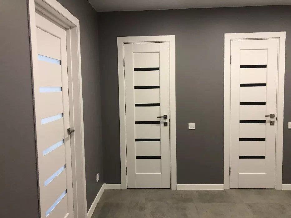 Двери Линнея Новый Стиль белый мат премиум стекло черное - Межкомнатные двери — фото №9