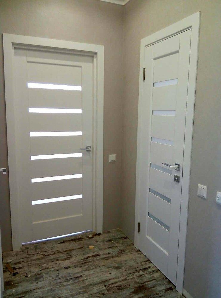 Двери Линнея Новый Стиль белый мат премиум стекло Сатин - Межкомнатные двери — фото №9