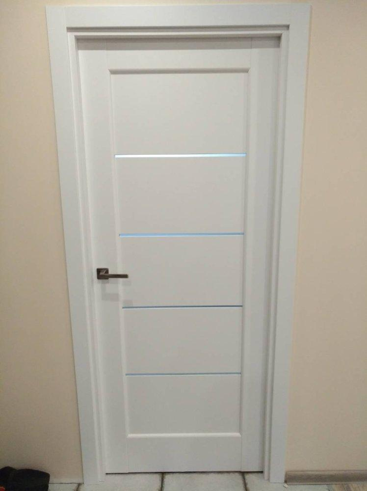 Двери Мира Новый Стиль белый мат премиум стекло Сатин - Межкомнатные двери — фото №9