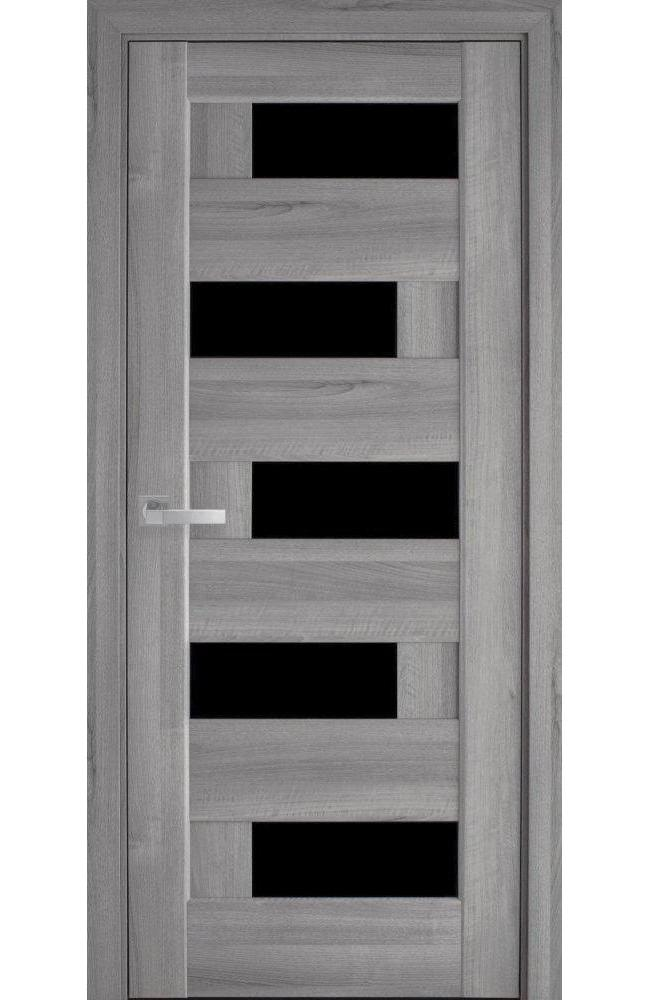 Двери Пиана Новый Стиль бук пепельный делюкс стекло черное - Межкомнатные двери — фото №1