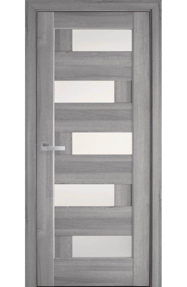 Двери Пиана Новый Стиль бук пепельный делюкс стекло Сатин - Межкомнатные двери — фото №1