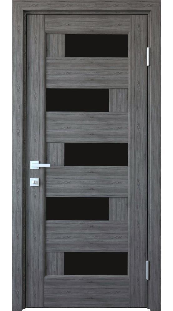 Двери Пиана Новый Стиль грей делюкс New стекло черное - Межкомнатные двери — фото №1