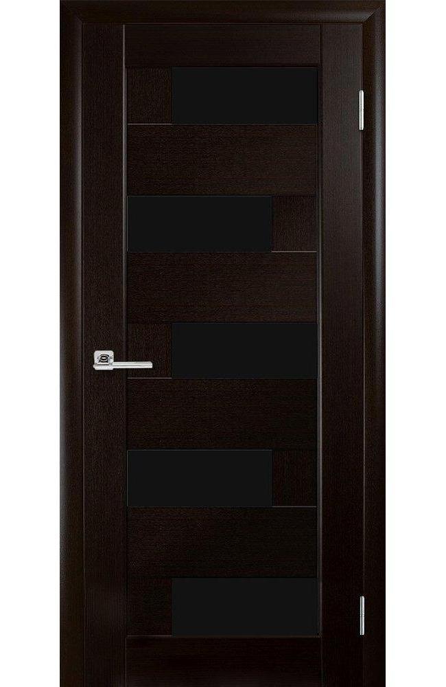 Двери Пиана Новый Стиль венге делюкс стекло черное - Межкомнатные двери — фото №1