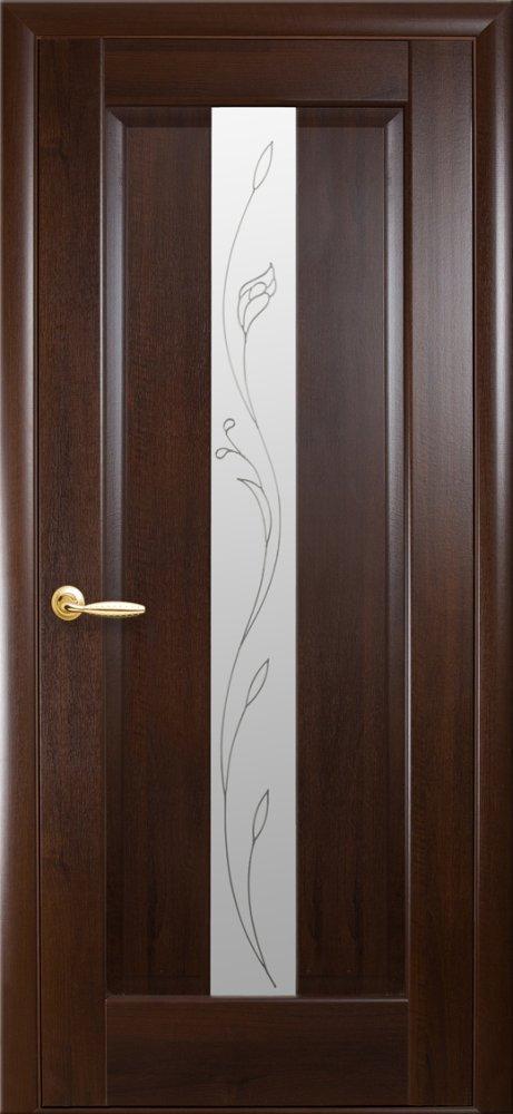 Двери Премьера Новый Стиль каштан делюкс со стеклом Р2 - Межкомнатные двери — фото №1