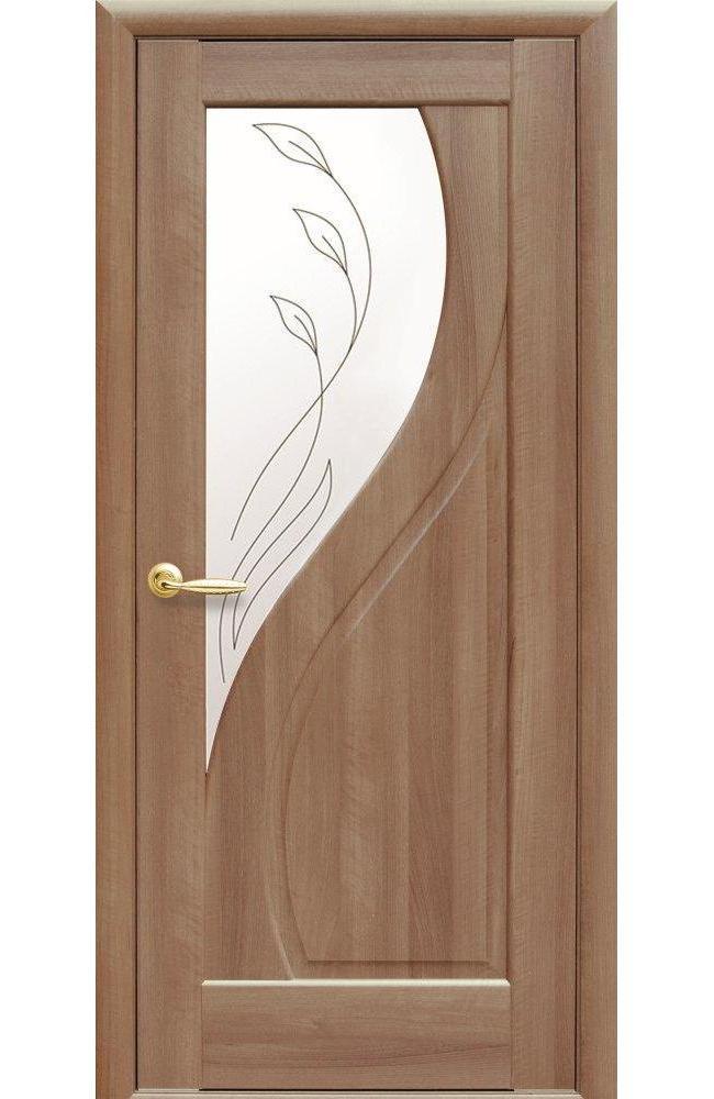 Двери Прима Новый Стиль золотая ольха делюкс со стеклом Р2