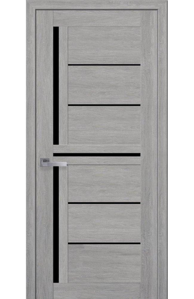 Двери Диана Новый Стиль дуб дымчатый стекло черное - Межкомнатные двери — фото №1