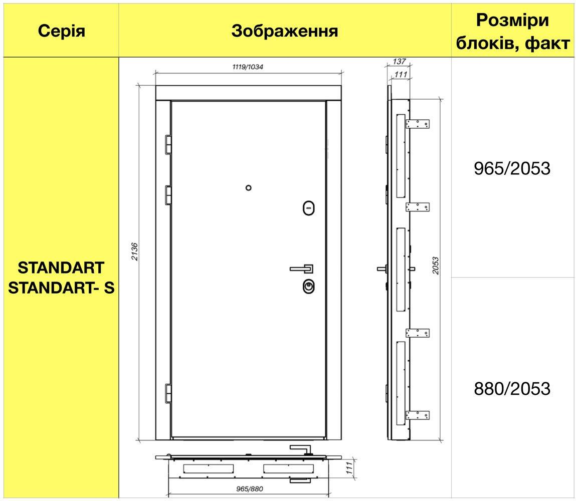 Размеры металлической двери Rodos STZ Standart STZ 007
