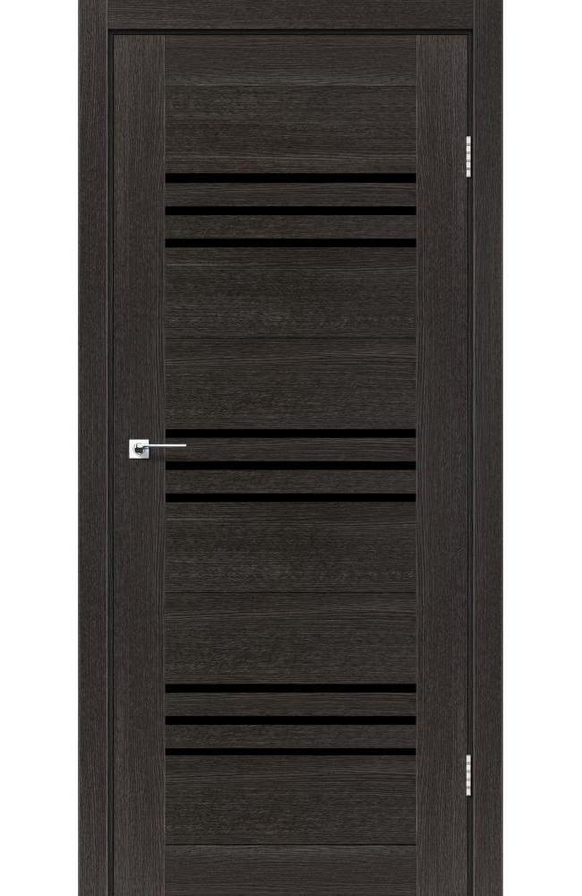 Двери Sovana Леадор дуб саксонский стекло черное