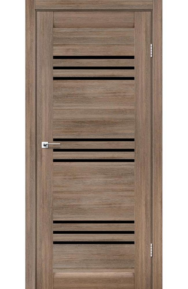 Двери Sovana Леадор серое дерево стекло черное