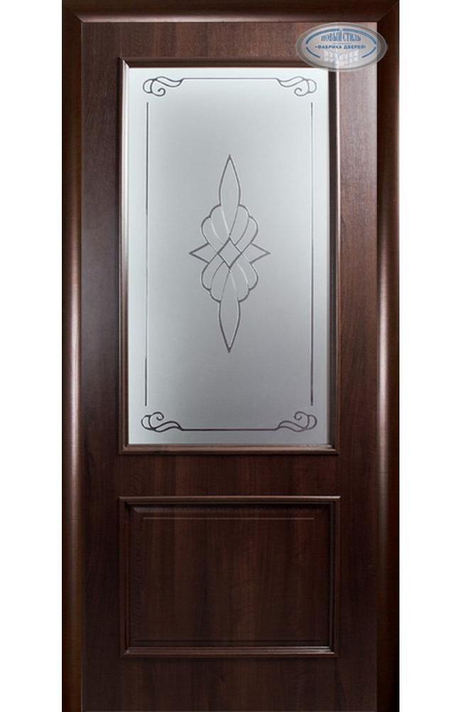 Двери Вилла Новый Стиль каштан делюкс со стеклом Р1