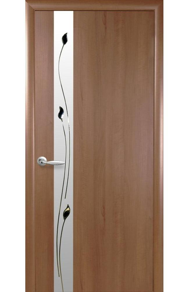 Двери Злата Новый Стиль золотая ольха делюкс стекло Сатин - Межкомнатные двери — фото №1