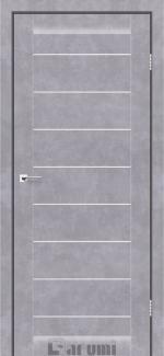 Межкомнатные двери Leona Дарумі бетон сірий скло сатин