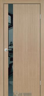 Межкомнатные двери Plato Line PTL-04 Дарумі дуб натуральний скло чорне