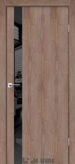 Межкомнатные двери Plato Line PTL-04 Дарумі горіх бургун скло чорне