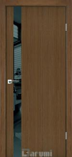 Межкомнатные двери Plato Line PTL-04 Дарумі горіх роял скло чорне
