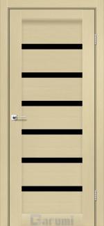 Межкомнатные двери Vela Дарумі дуб боровий скло чорне
